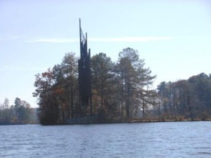 The Carillon at Stone Mountain Lake in Stone Mountain Park is one of the sights you can see on a guided War Canoe trip.
