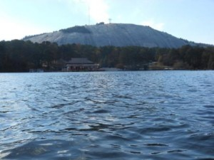 Stone Mountain Lake, at Stone Mountain Park, is ideal for guided War Canoe trips and team building events.